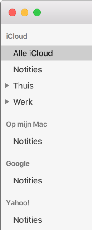 De lijst met accounts in Notities met de iCloud-account, de Op mijn Mac-account en andere accounts, zoals Google en Yahoo.
