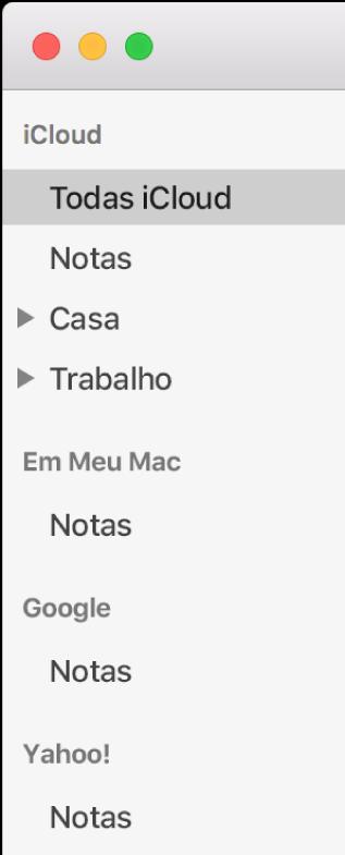Lista de contas no Notas mostrando o iCloud, Em Meu Mac e outras contas, como Google e Yahoo.