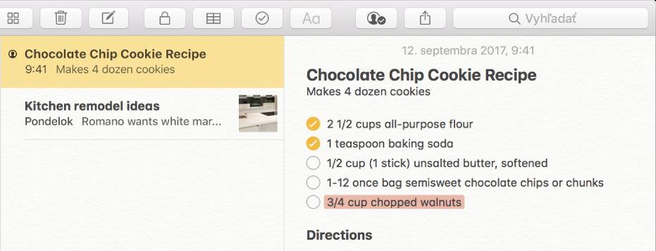 Poznámka s receptom na sušienky skúskami čokolády. Ikona aplikácie Ľudia naľavo od názvu poznámky v zozname poznámok indikuje, že do poznámky boli pridaní ľudia, aby spolupracovali.