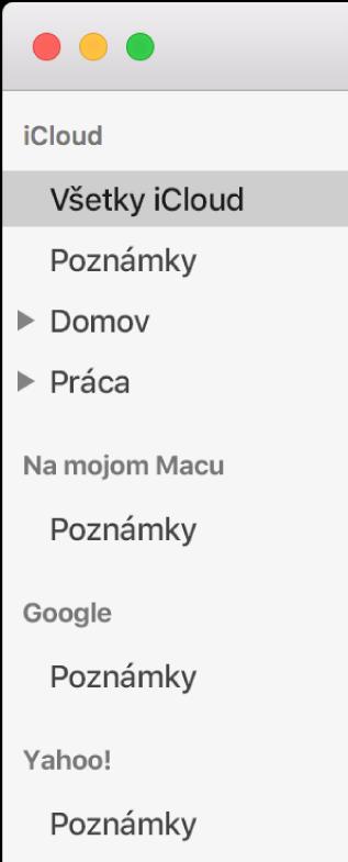 Zoznam účtov v aplikácii Poznámky zobrazujúci účty iCloud, Na mojom Macu a iné účty ako Google a Yahoo.