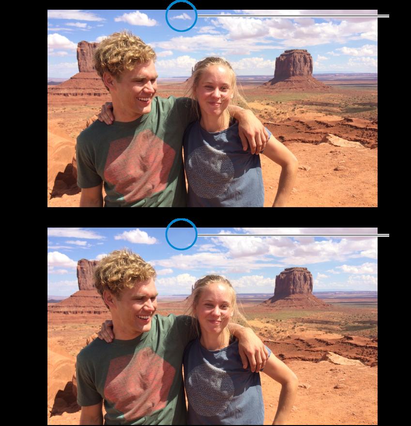 صورة قبل التنقيح، بعلامة صغيرة مرئية، وبعد التنقيح، بدون علامة.