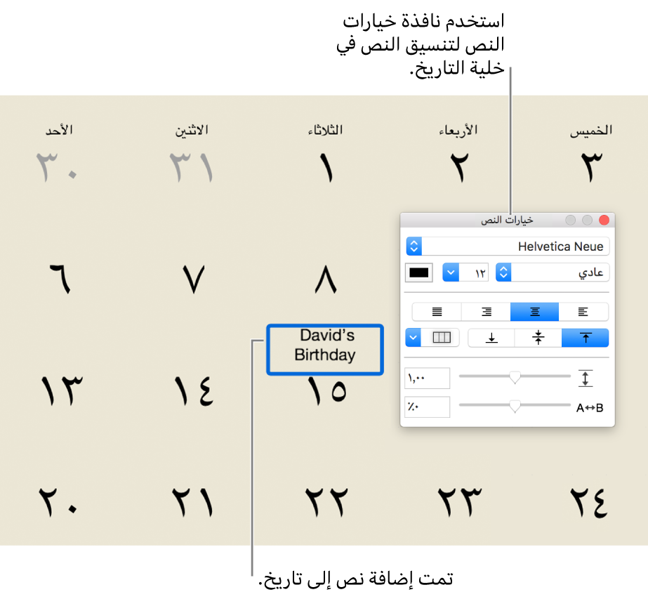 تاريخ تقويم مع نص مضاف إليه، ونافذة خيارات النص على اليسار.