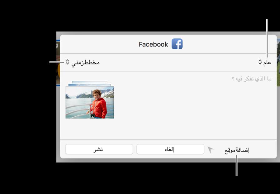 مربع حوار مشاركة فيسبوك.