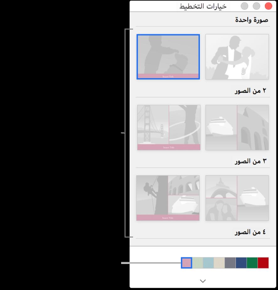 نافذة خيارات التخطيط لبطاقة.
