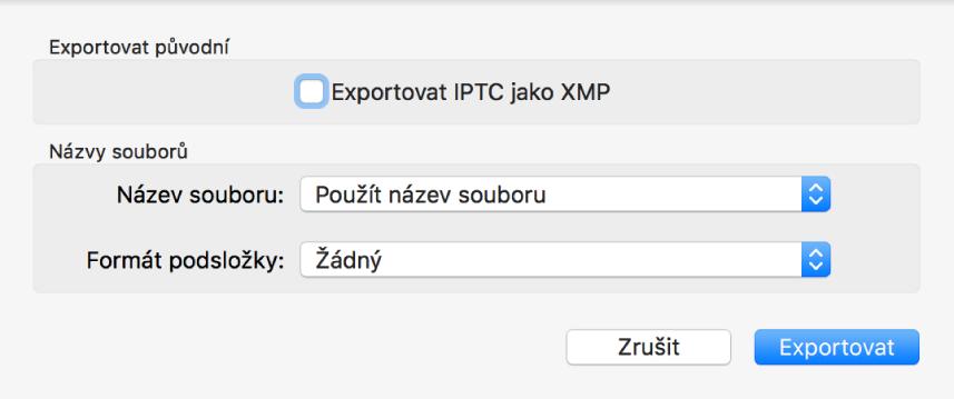 Dialogové okno Exportovat původní svolbami exportu.