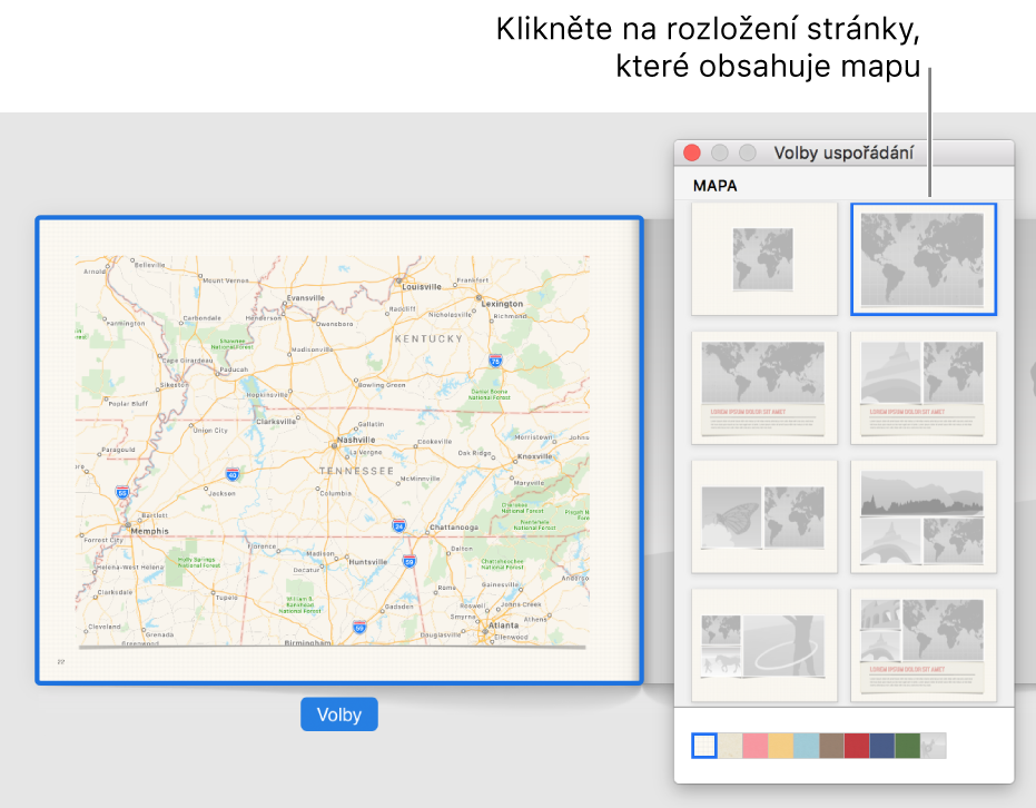 Okno Volby uspořádání suspořádáními, která obsahují mapu.