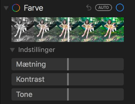 Området Farve i vinduet Juster med mærker til Mætning, Kontrast og Tone (farvestik).