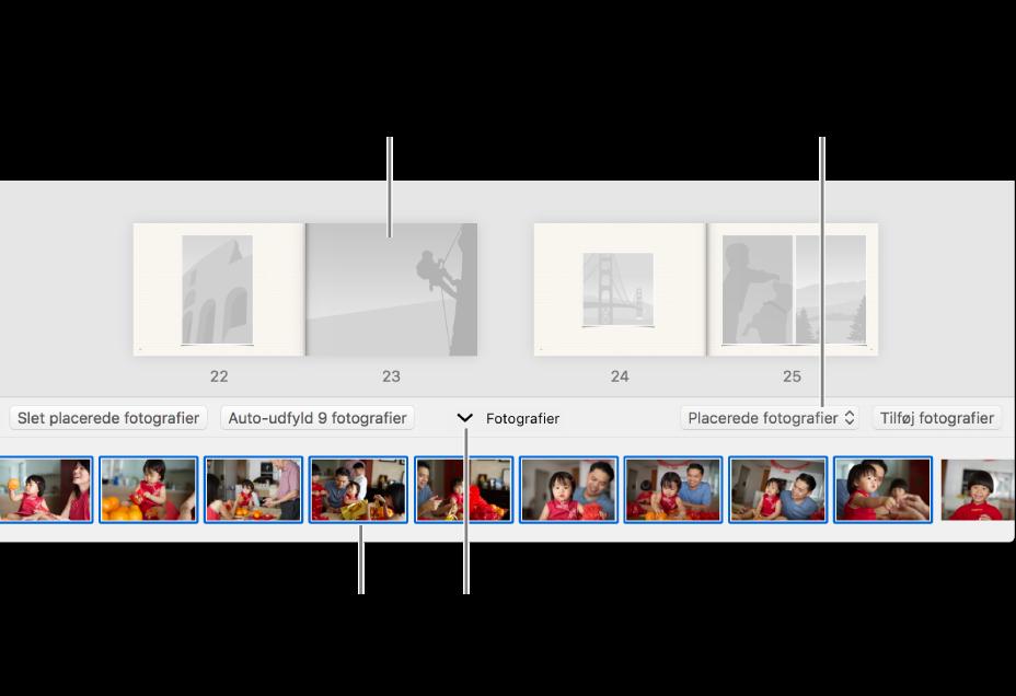 Fotos-vindue med sider i en bog med Fotos-området nederst.