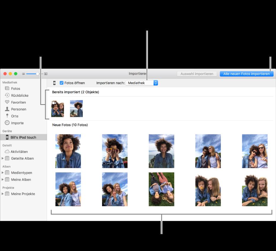 """Fotos auf dem gerät, die bereits importiert wurden, werden oben im Bereich angezeigt, neue Fotos werden unten angezeigt. Oben in der Mitte befindet sich das Einblendmenü """"Importieren nach"""". Die Taste """"Alle neuen Fotos importieren"""" ist oben rechts"""