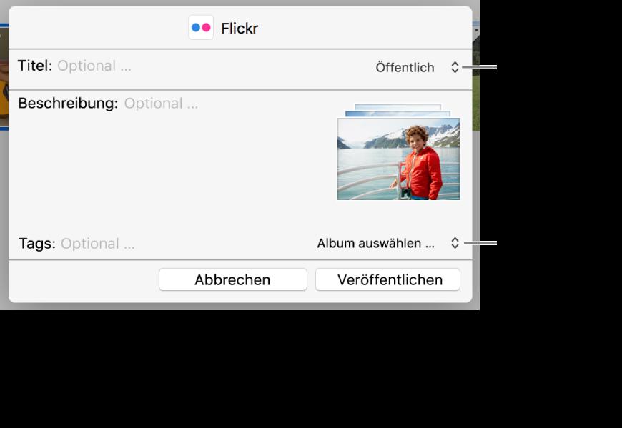 Dialogfenster zum Teilen auf Flickr