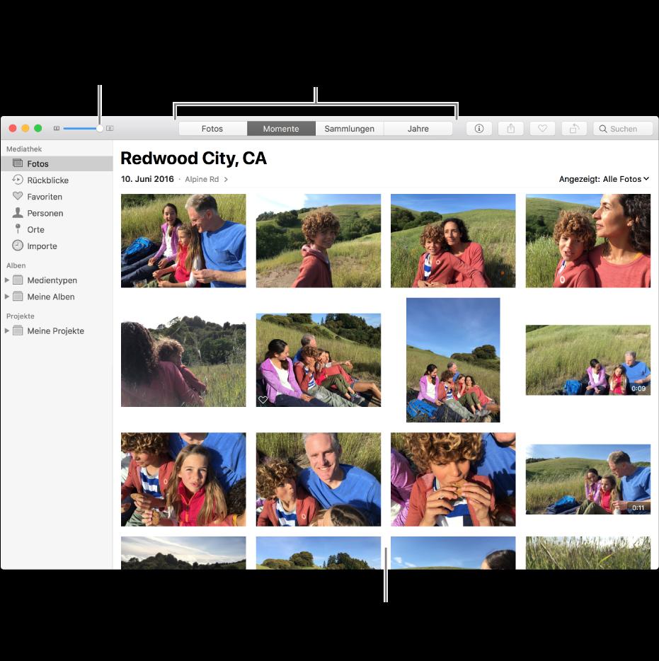 Fotos-Fenster mit Fotos in einem Moment