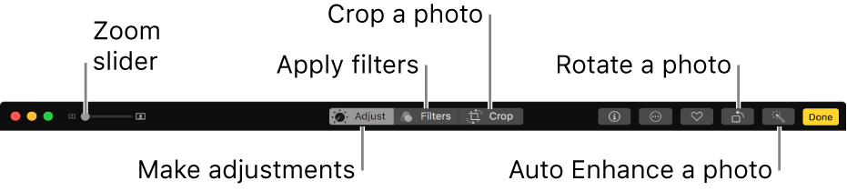Edit toolbar showing buttons for displaying adjustments, filters, and cropping options.