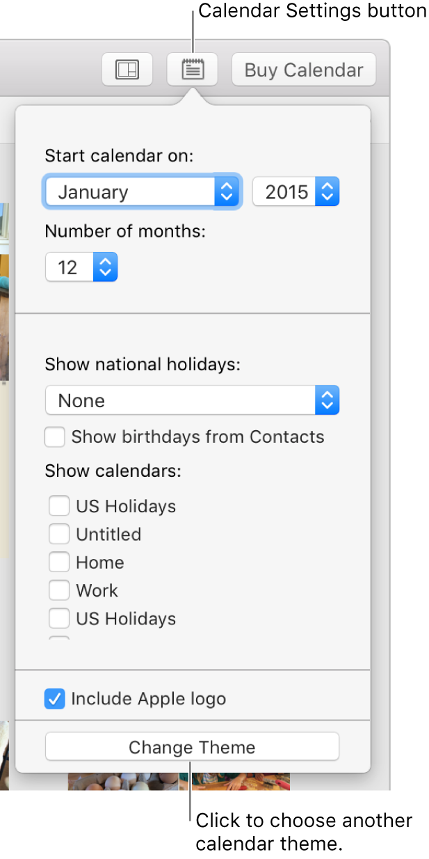 Calendar Settings options with Change Theme button at the bottom.