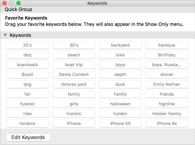Keyword Manager window