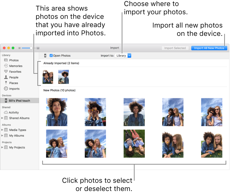 """Photos on the device that you've already imported are shown at the top of the pane; new photos are at the bottom. At the top center is the """"Import to"""" pop-up menu. The Import All New Photos button is at the top right."""