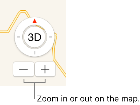Zoom buttons on map.