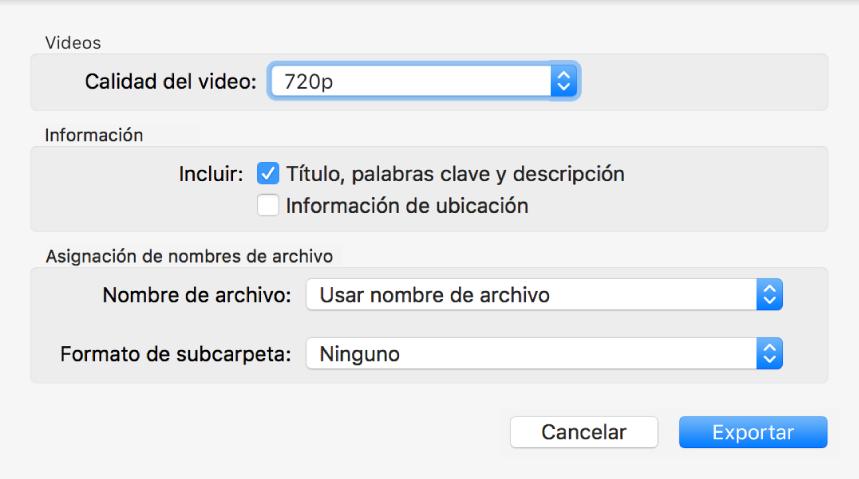 """Cuadro de diálogo """"Exportar original"""" mostrando opciones para exportar."""