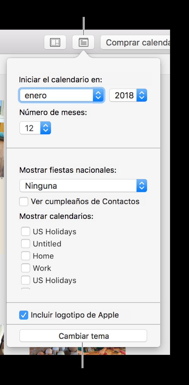 """Opciones """"Configuración del calendario"""" con el botón """"Cambiar tema"""" en la parte inferior."""