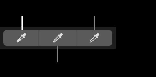 Tres goteros utilizados para seleccionar el punto negro, los tonos medios y el punto blanco de la foto.