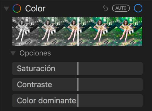 """El área Color del panel Ajustar mostrando los reguladores de Saturación, Contraste y """"Color dominante""""."""