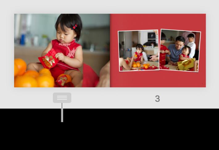 Una página mostrada a doble página con el botón de página visible debajo de la página.