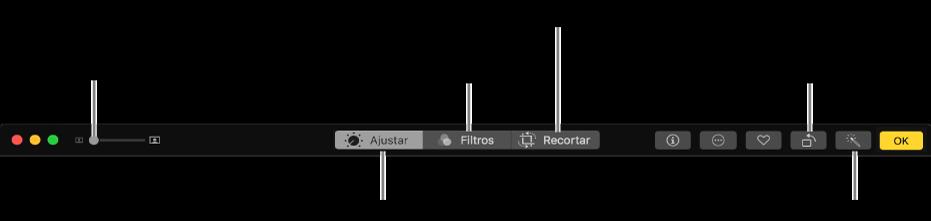 La barra de herramientas de edición mostrando botones para ver ajustes, filtros y opciones de recortar.