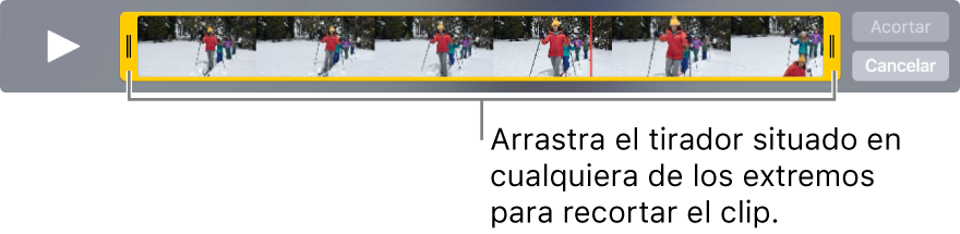 Controladores de recorte amarillos en un clip de vídeo