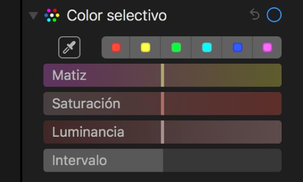 """Controles de """"Color selectivo"""" con los reguladores Matiz, Saturación, Luminancia e Intervalo."""