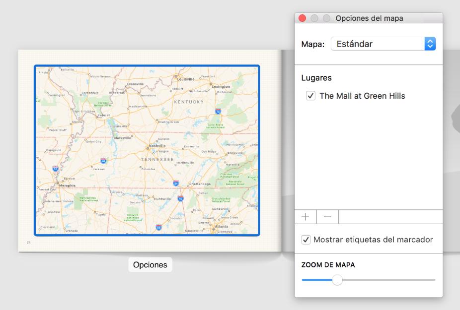 """Un mapa en un libro con el botón Opciones debajo, y la ventana """"Opciones de mapa"""" abierta a la derecha del mismo."""