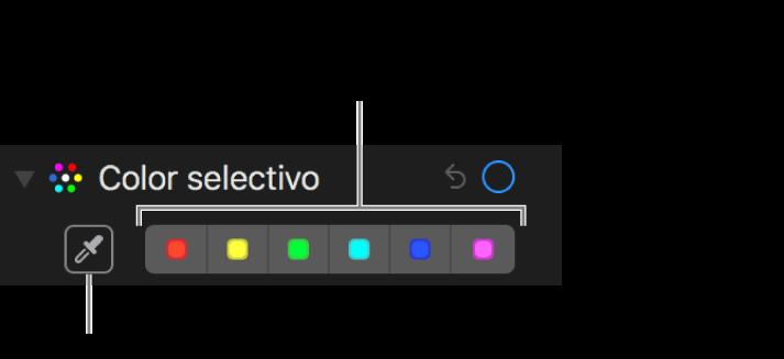 """Controles de """"Color selectivo"""" con el botón Cuentagotas y paletas de colores."""