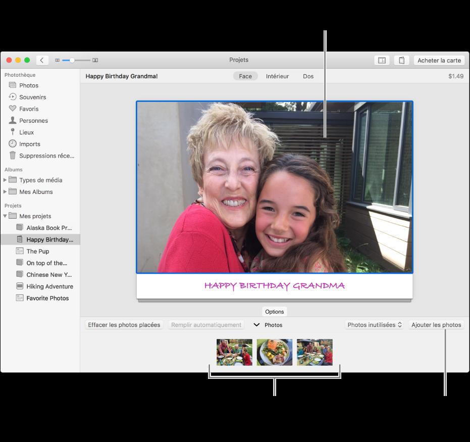 Carte avec une photo sélectionnée et le bouton Ajouter des photos en bas à droite.