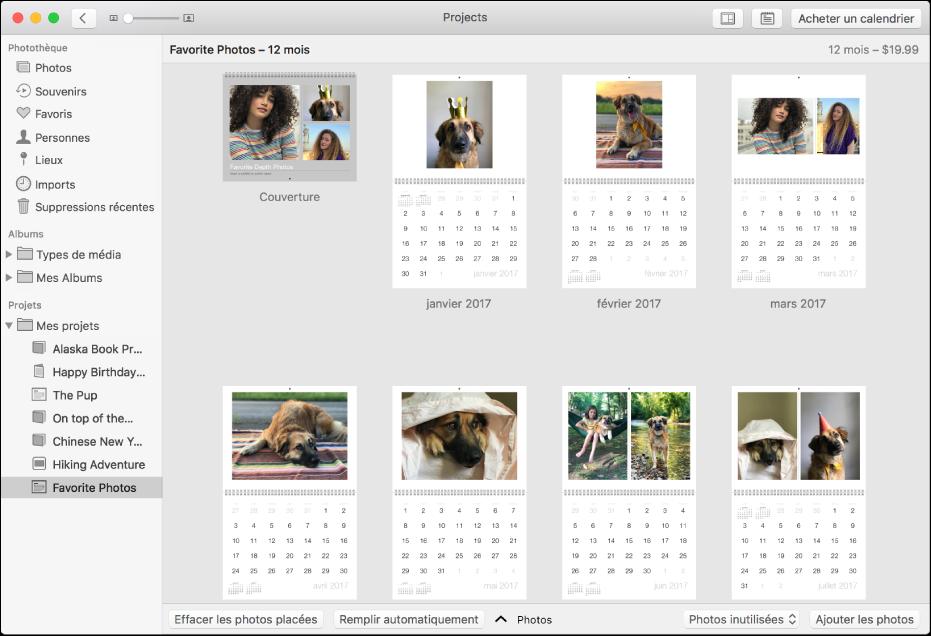 Fenêtre Photos présentant un calendrier.
