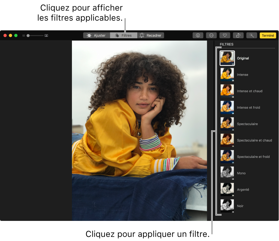 Photo en mode édition avec des filtres affichés sur la droite.