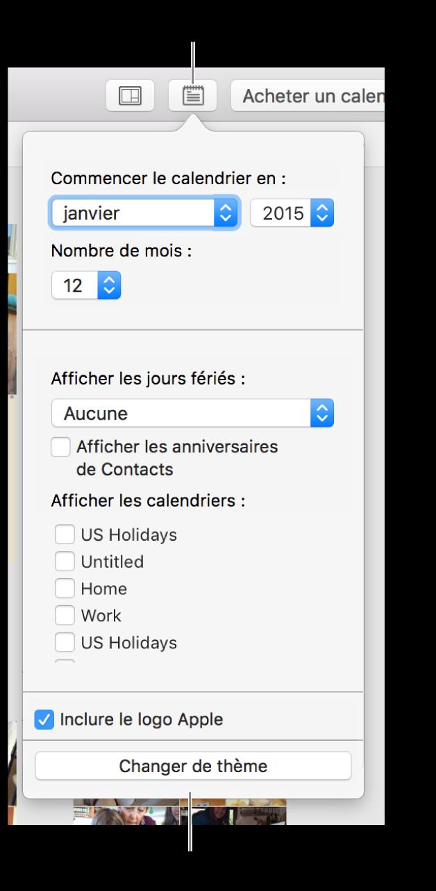 Options Réglages du calendrier avec bouton Changer de thème en bas.