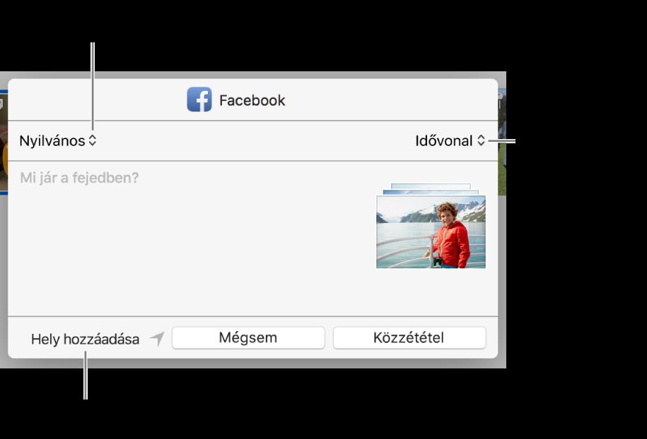 Facebook-megosztás párbeszédablaka.