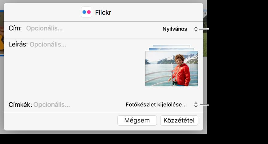Flickr-megosztás párbeszédablaka.
