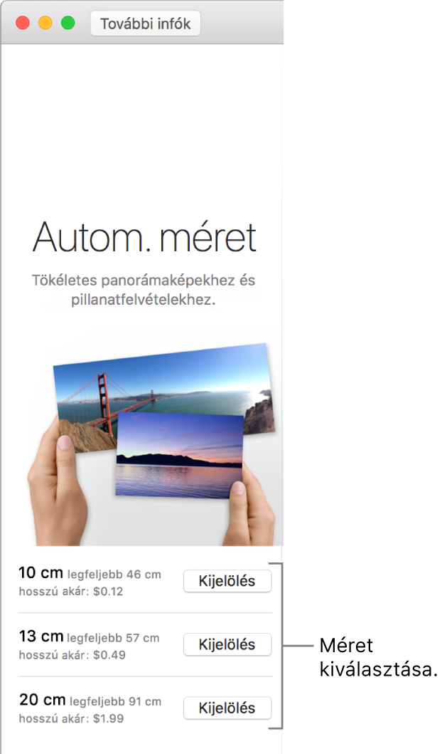 Az Automatikus méretezés nyomtatási formátum ablakméret-beállításai.