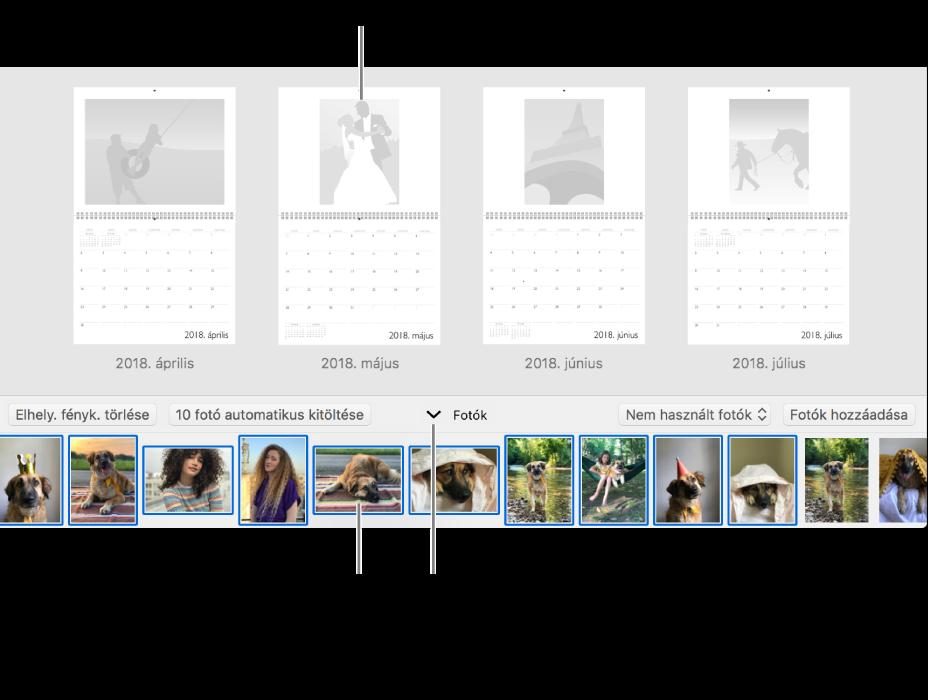 A Fotók ablaka egy naptár oldalaival, alul a Fotók területtel.
