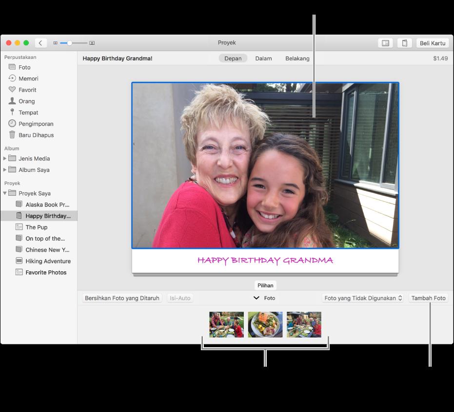 Kartu dengan foto dipilih dan tombol Tambah Foto di bawah kanan.