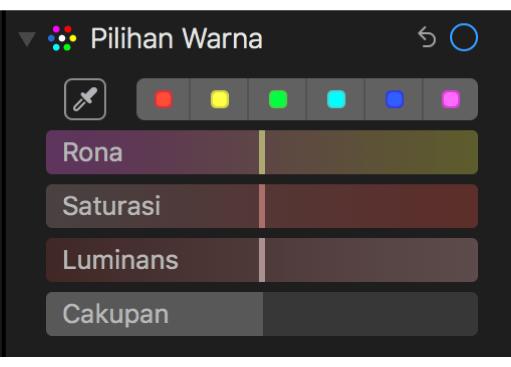 Kontrol Pilihan Warna menampilkan penggeser Rona, Saturasi, Luminans, dan Cakupan.