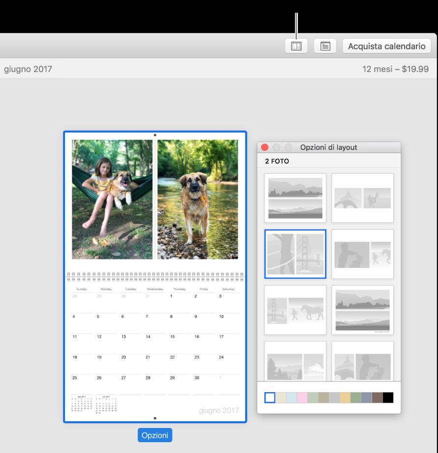 """Pagina del calendario a sinistra con la finestra """"Opzioni layout"""" a destra, che mostra i layout di pagina."""