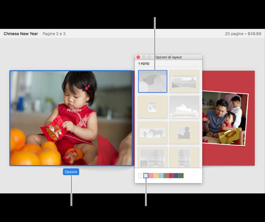 Doppia pagina di un fotolibro con la finestra delle opzioni di layout di fronte.