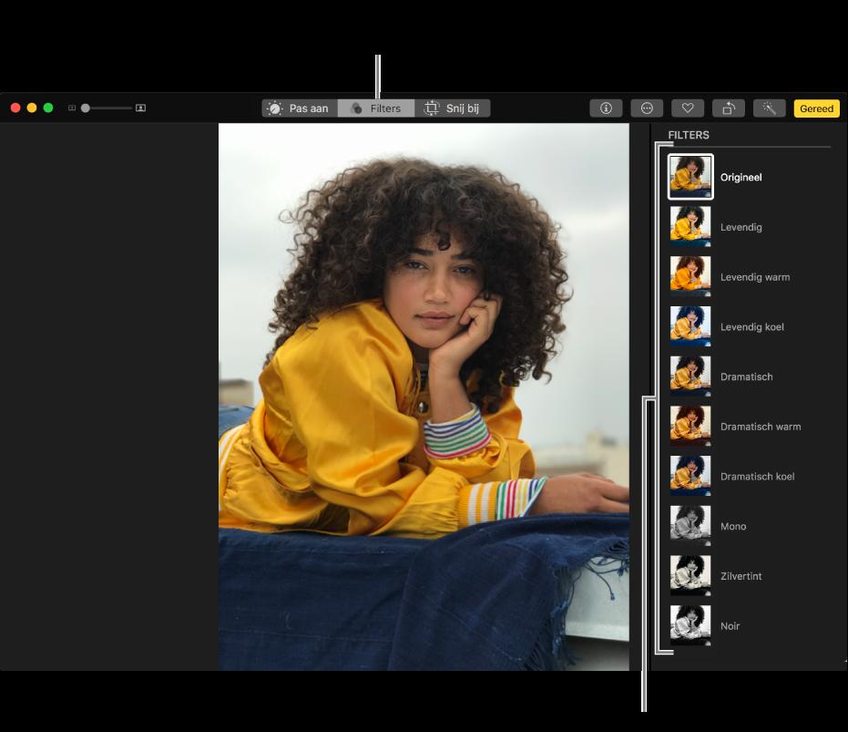 Foto in bewerkingsweergave met filters aan de rechterkant.