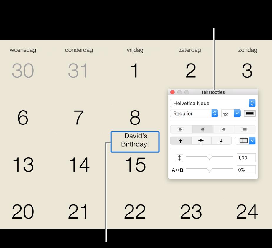 Een datum in een kalender waaraan tekst is toegevoegd en het venster 'Tekstopties' aan de rechterkant.