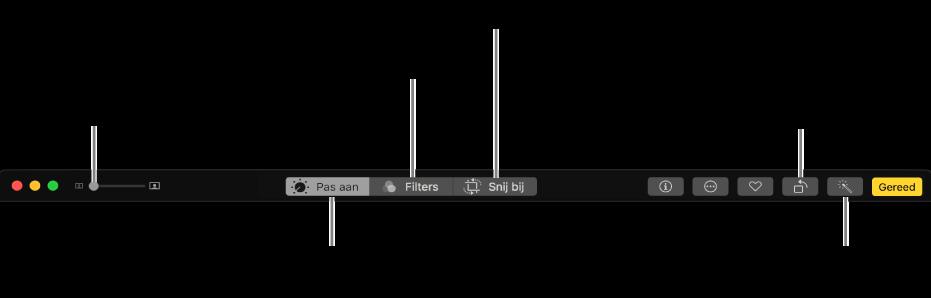 Wijzigingsknoppenbalk met knoppen voor de weergave van aanpassingen, filters en bijsnijdopties.