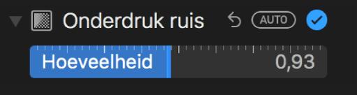 Schuifknop 'Ruisonderdrukking' in het paneel 'Pas aan'.