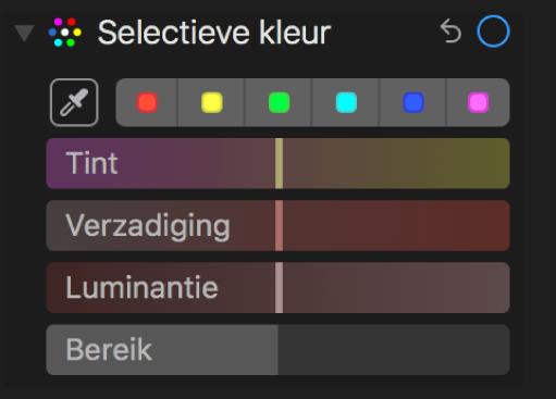 Regelaars voor 'Selectieve kleur' met schuifknoppen voor 'Tint', 'Verzadiging', 'Luminantie' en 'Bereik'.