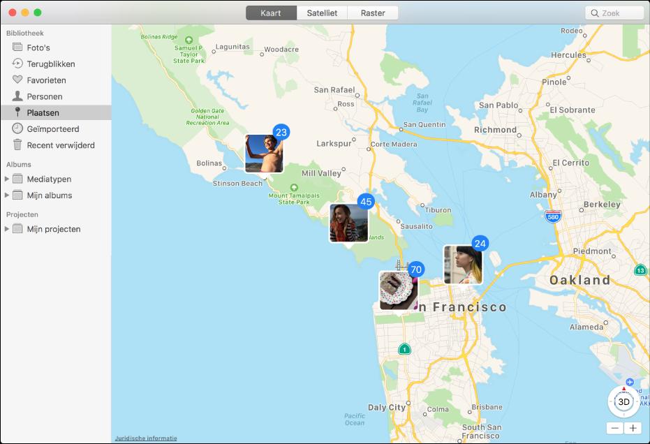 Het Foto's-venster met een kaart waarop fotominiaturen worden weergegeven die op locatie zijn gegroepeerd.