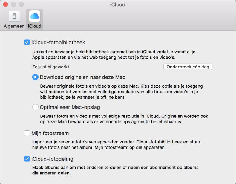 Paneel 'iCloud' in het voorkeurenvenster van Foto's.