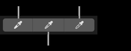 Tre pipetter som brukes til å velge svartpunktet, mellomtoner og hvitpunktet for bildet.